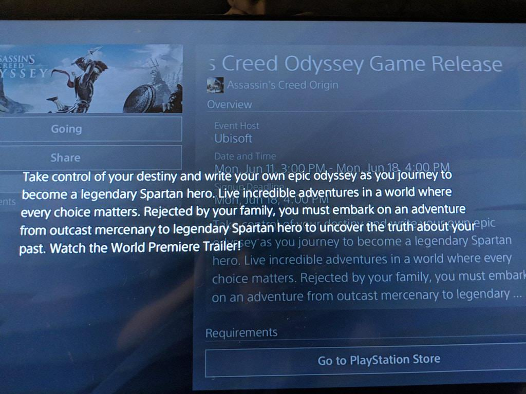 Assassin's Creed Odyssey: First Details Leaked via Playstation Store.