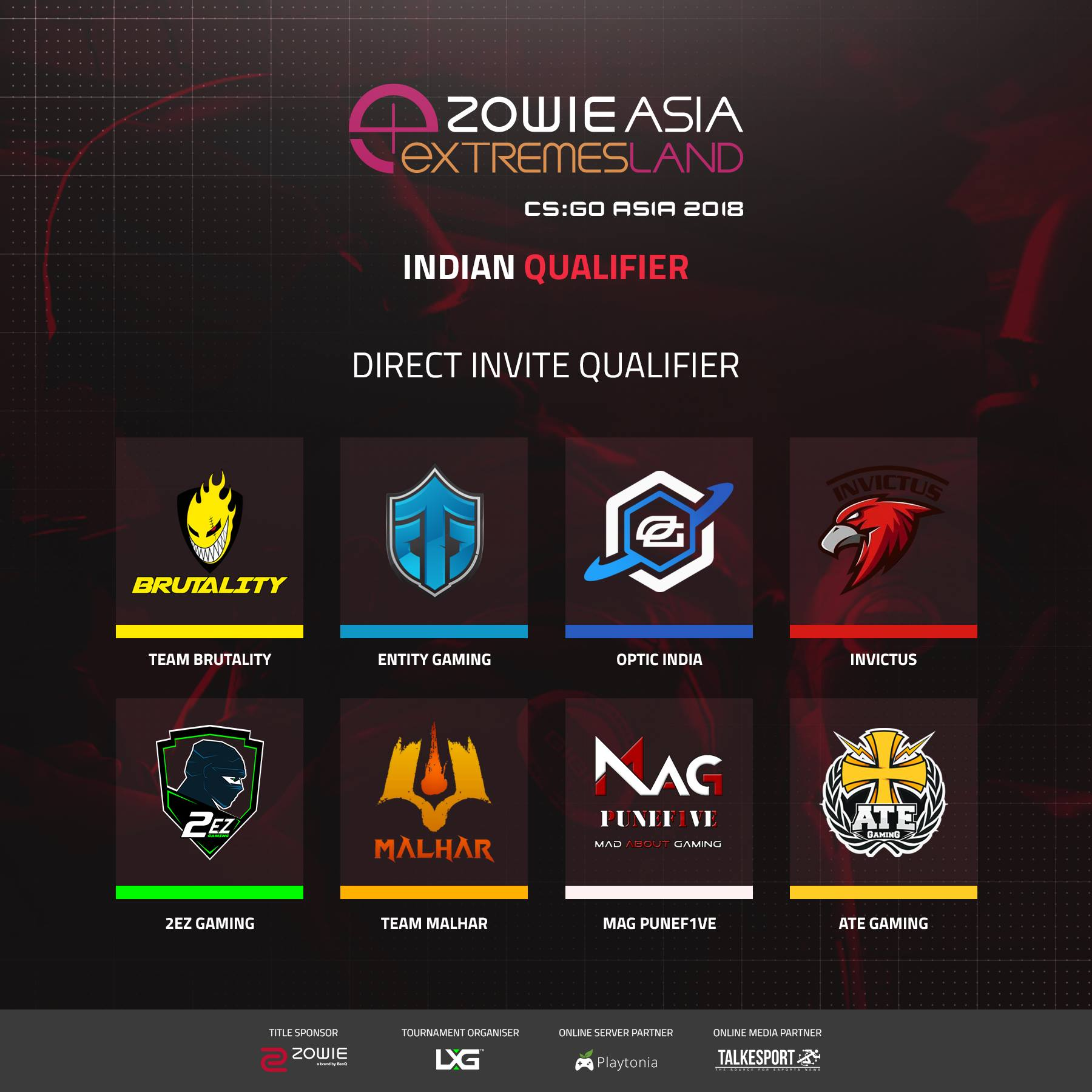 BenQ Zowie and LXG India Announce the List of Teams for the Direct Qualifiers to Zowie Asia Extremesland 2018